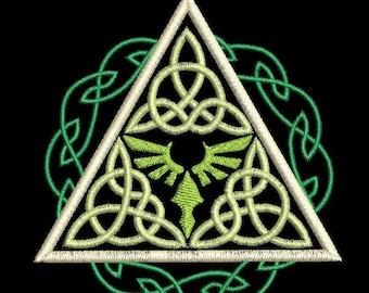 Zelda Celtic Style Triforce Machine Embroidery Design 4x4