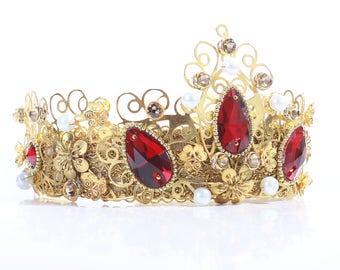BAROQUE TIARA Crown Bridal Crown Swarovski Crystal Tiara Gold  Bridal Crown Red Crystal Gold Baroque Tiara Tiara Reign Bridal Crown