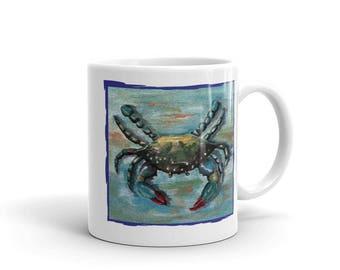 Blue Crab on Blue Mug