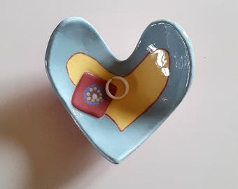 Coeur rest-ring ceramic heart gift mother's day, daughter, blue heart ceramic tidy, Grandma gift, gift for MOM