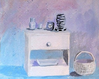 Original Painting * NIGHTSTAND WITH ESSENTIALS * Small Art Format by Rodriguez