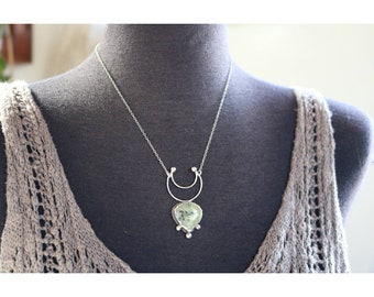 "Prehnite Moon Necklace- ""Re-imagined"""