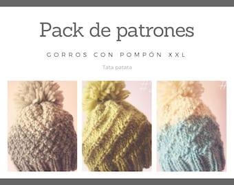 Pack 3 patrones gorro pompón XXL / Bundle 3 patterns Beanie pompon XXL
