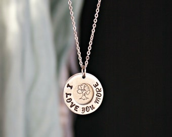 Family Necklace with I Love You More layered washer.