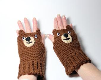 Bear Fingerless Gloves, Animal Mittens, Brown Crochet Mitts, Winter Handwarmers