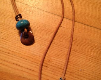 Blue porcelain bead and copper roundelle necklace with suede cord