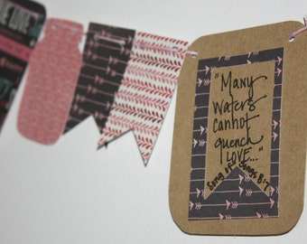 "Mini Scripture Bunting- ""Many waters cannot quench love"" (Song of Solomon 8:7)"