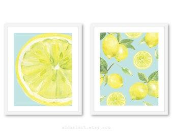 Citron estampes, Art mural citron, citron Art, Decor citron, citron oeuvre, agrumes Wall Art, ensemble de 2 impressions, tous droits réservés, Aldari Art