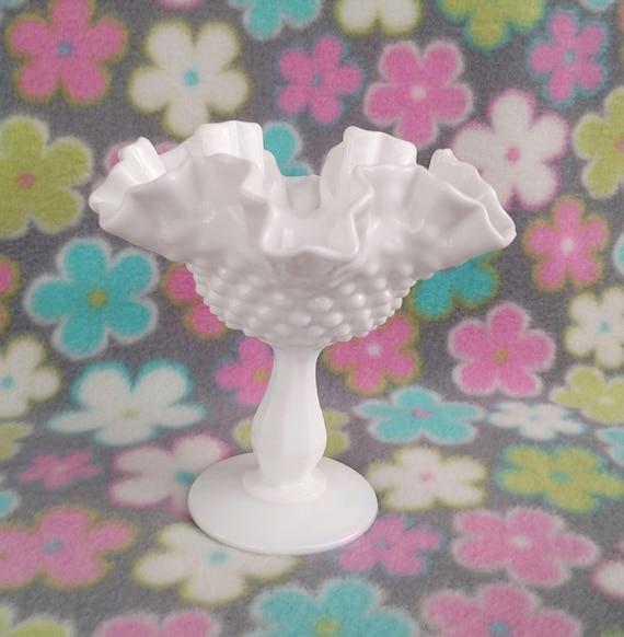 Vintage Ruffled Edge Hobnail Milk Glass Pedestal Bowl