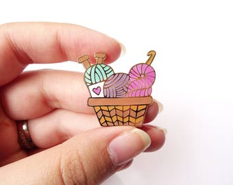 Yarn Basket Enamel Pin - Crochet - Knit -  Craft - Accessory - Decor -Lapel Pin - Cloisonne Pin - Hard Enamel - Brooch