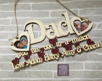 Personalised Hanging Dad Photo Frame