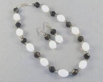 Black & White Jewel Of A Necklace // Glass Beads // Milky White // Black Bicone // Swarovski Spacer Beads