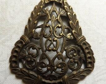 "Vintage gold plate brass stamped filigree,2""x1&3/4"",1pc-FLG50B"