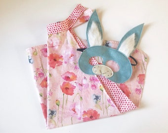 Floral spring cape with bunny mask