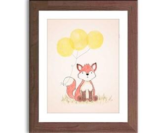 Fox Illustration Nursery Art - Fox Watercolor Print - Woodland Nursery Decor - Nursery Art - Baby Wall Art - Kidsa Wall Decor - F202