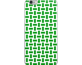 Green pattern iPhone 6 7 8 X case, pretty geometric design with bright color and inter-connected stripes for him, for her