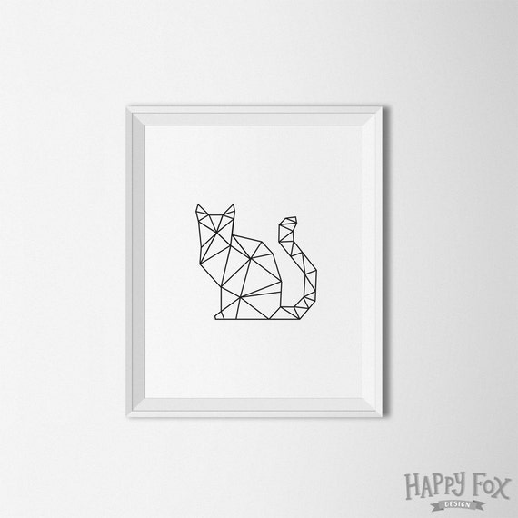 Items Similar To Geometric Cat Art Origami Print Digital Modern Decor Black And White Wall Printable On Etsy