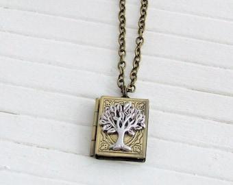 Tree of Life Locket .. silver tree, book locket, tree necklace, family tree