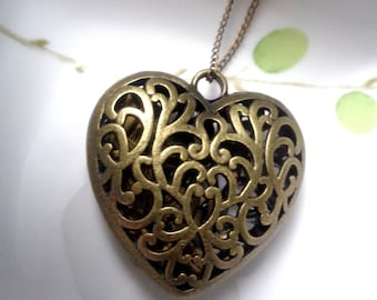 Heart Necklace , Large Heart Pendant , Filigree Heart Pendant Brass Heart Pendant Bronze Heart Necklace Gift For Her