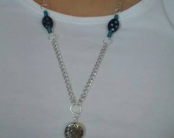 Necklace chain button and beads
