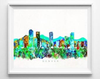 Denver Skyline Print, Colorado Print, Denver Poster, Colorado Cityscape, Watercolor Painting, City Skyline, Wall Decor, Mothers Day Gift