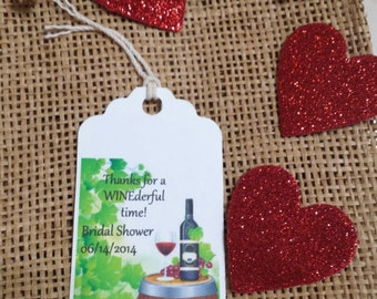 Personalized Favor Tags 2.5Lx1.8w,  Wedding tags, Thank You tags, Favor tags, cheers, Bridal Shower Favor Tags, winery, wine shower, wine