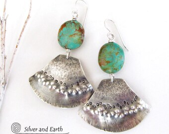Sterling Silver Turquoise Earrings, Unique Silver Tribal Earrings, Handmade Metalsmith Jewelry, Bold Edgy Organic Natural Turquoise Jewelry