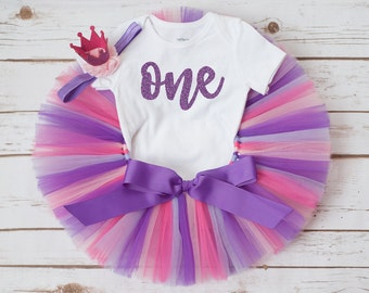 Purple birthday outfit  'Persephonee' pink purple first birthday tutu glitter first birthday shirt and crown headband 12 month tutu outfit
