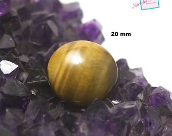 """1 """"round 20mm"""" cabochon Tiger's eye, natural stone"""