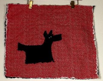 old fashioned scottie  quilt, boy or girl baby quilt, stroller blanket