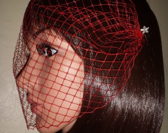 "Red Bandeau birdcage Brides 9"" veil. Diamante pearl pins. FREE UK POSTAGE"