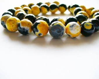 Agate Beads Gemstone Black and Golden Orange Faceted Round 10MM