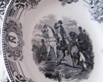 Set Of 9 Napoleonic Wars Black Vintage 1920's Transferware Boch Freres La Louviere Pottery