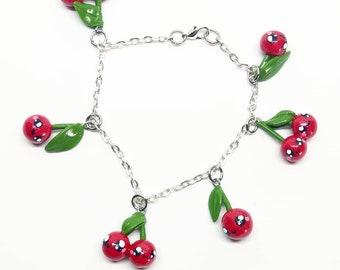 handmade polymer clay kawaii cherry bracelet