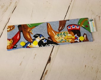 """Large Needle Cozy/DPN Holder - Cowboy Boots - project holder 9""""x2.75"""" - (Hold up to 8"""" Needles) NCLG0010"""