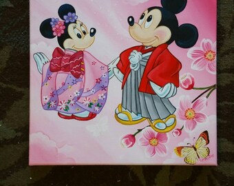 Style japonais de Mickey et minnie mouse