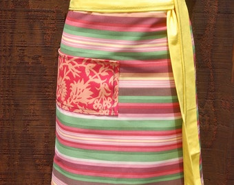 Half Apron, yellow, green, orange, coral, pocket, woman's half apron