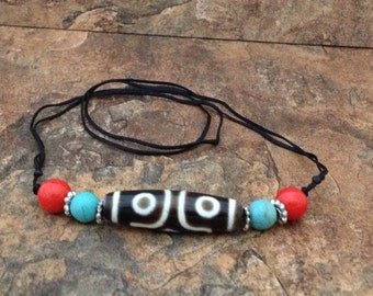 Tibetan 3 Eye Dzi Bead Necklace with Coral and Turquoise Beads on a Sliding Knot Cord
