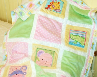 "Jungle Appliqued Minky Blanket ""Too Cute Jungle """