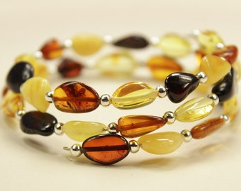 Wire polished Baltic Amber bracelet