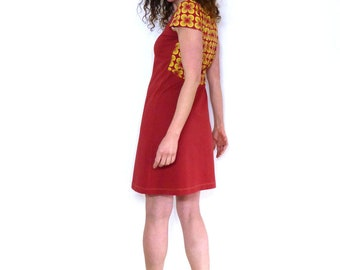 Dress, short sleeve, rust red and retro pattern