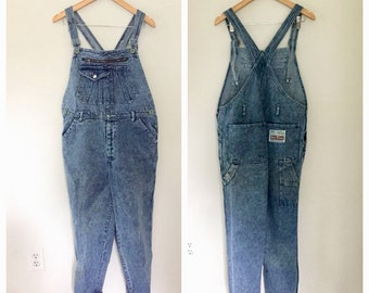 80s Overalls, ACID WASH Overalls, Baggy Overalls, Bib, Dungarees, GRUNGE, Blue Jean Overalls, Denim Overalls, Small, Medium Zipper 80s