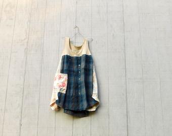 Tank Dress, Spring Tunic, Plaid, Upcycled Clothing, Summer, Upcycled Dress, Romantic, Boho, CreoleSha