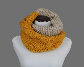 100% Wool Two-Tone Infinity Scarf
