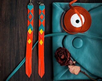Extra Long Leather Earrings, bright tribal geometric jewelry, orange and blue, chevron fashion jewelry