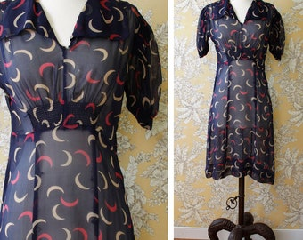 vintage AS-IS 1930s dress <> 1930s sheer silk chiffon dress <> 30s sheer navy blue dress with crescent moon print <> sold in as-is condition
