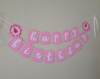 Happy Birthday Banner - Girl's Party Banner