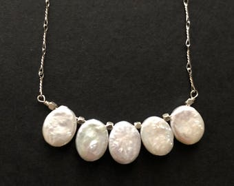 Freshwater Coin Pearl Sterling Silver Necklace