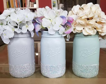 Glitter Mason Jars, Mint Green Mason Jars, Painted Mason Jars, Pastel Mason Jars, Wedding Centerpieces, Mason Jar Decor, Mason Jar Vases