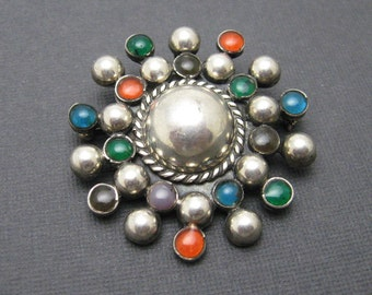 Sterling Starburst Brooch Pendant Mexican Vintage Jewelry